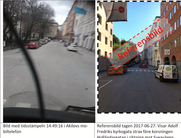 Left: Photo found in Akilovs mobile phone taken from the cab of the lorry minutes before the terror attack. Right: Reference photo of the same street taken by the police.