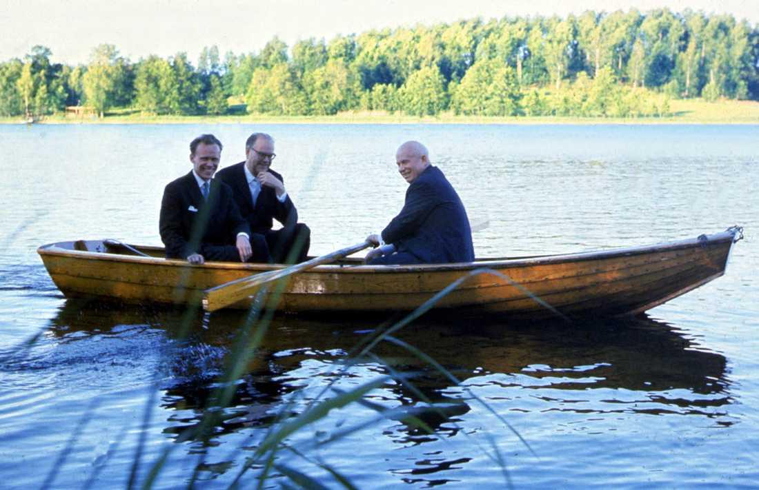 Nikita Chrusjtjov på Sverigebesök midsommaren 1964. Under besöket blev han utbjuden på en tur i den berömda Harpsundsekan av Tage Erlander.