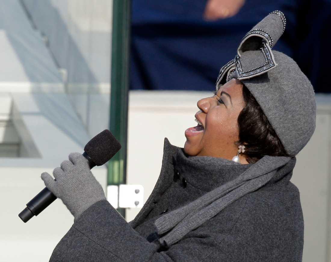 "Aretha Franklin sjunger ""My country, 'tis of thee"" vid Barack Obamas installationsceremoni som president i januari 2009."