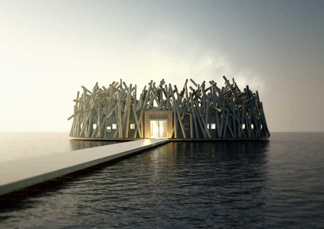 Arctic Baths design är inspirerad av timmerbröt.