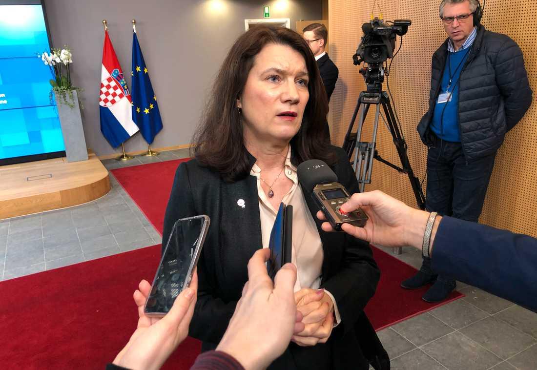Utrikesminister Ann Linde efter måndagens EU-möte i Bryssel.