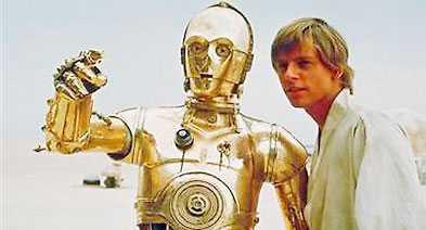 """C-3PO """"Star wars""""-ikon som talar över sex miljoner språk men har svårt att veta när hen ska vara tyst."""