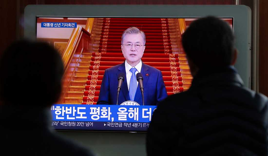 Sydkoreas president Moon Jae-In håller sitt nyårstal tidigare i januari.
