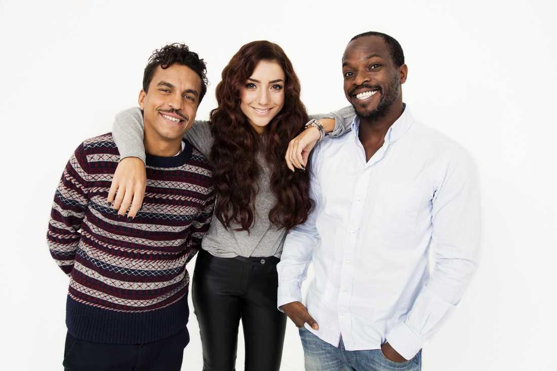 Musikhjälpens programledare Jason Diakité, Gina Dirawi, Kodjo Akolor.