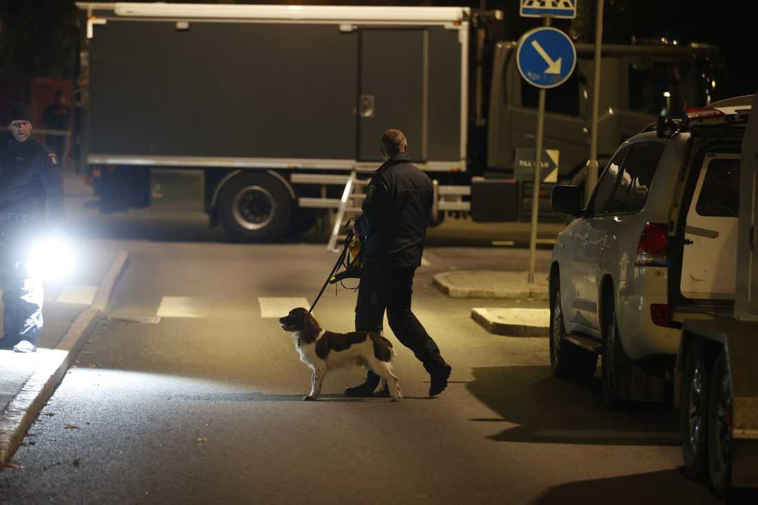 Polis med spårhund på plats