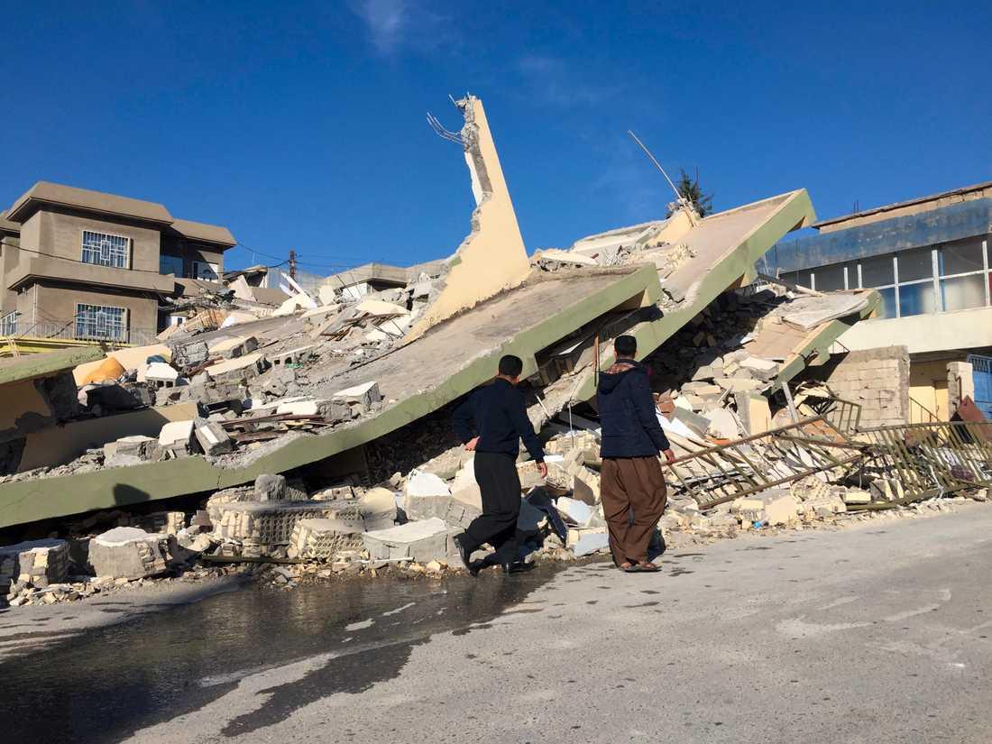 Förstörda hus i Darbandikhan, Irak.