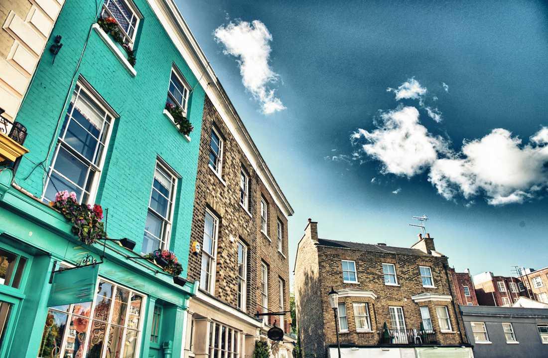 Färgglada hus i Notting Hill.