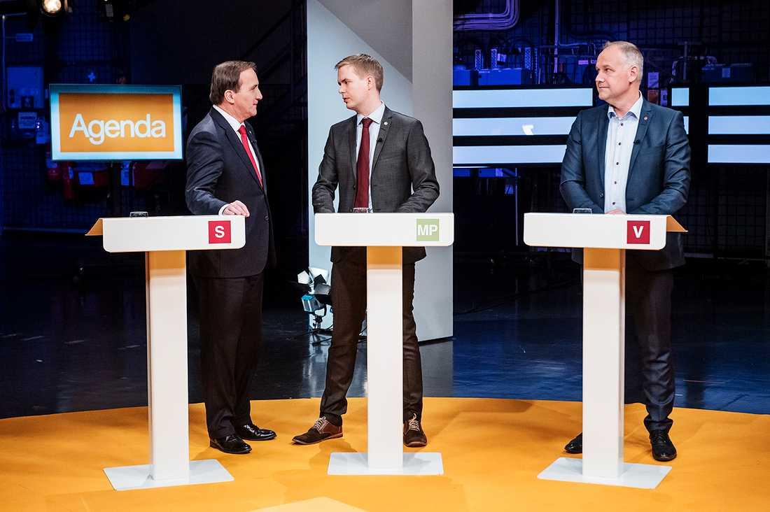 Stefan Löfven, Gustav Fridolin och Jonas Sjöstedt.