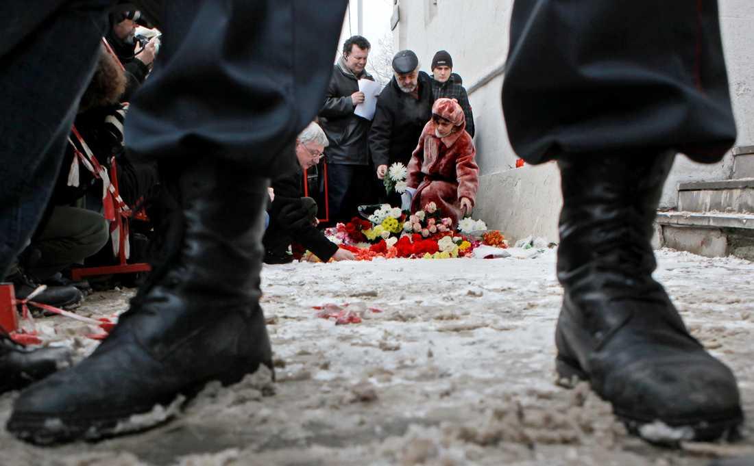 Platsen för morden på människorättsaktivisten Stanislav Markelov och Novaja Gazeta-journalisten Anastasia Baburova.