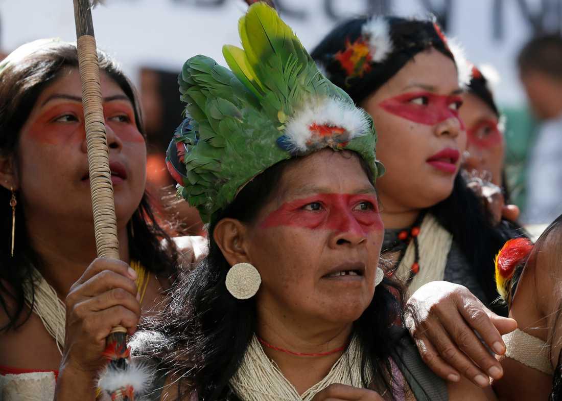 En kvinna från Waoranifolket vid en demonstration i Quito. Arkivbild.