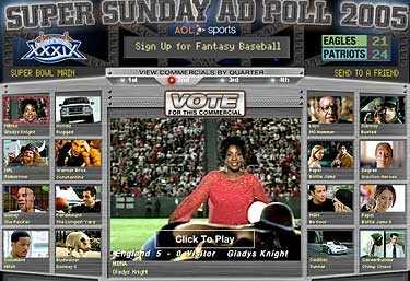 Här är de olika reklamfilmerna utlagda på nätet. på stora bilden Gladys Knight i bankkortsreklam där hon spelar rugby.