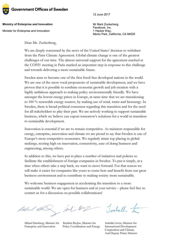 De svenska ministrarnas brev till Facebook 2017. Ett identiskt brev skickades också till chefer för bland andra Google och Amazon, enligt Näringsdepartementet.