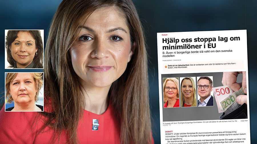 S påstående sprider en felaktig bild av svenska politikers inställning till minimilöner och försvagar den svenska ståndpunkten i förhandlingarna, skriver Gulan Avci, Tina Acketoft och Karin Karlsbro.