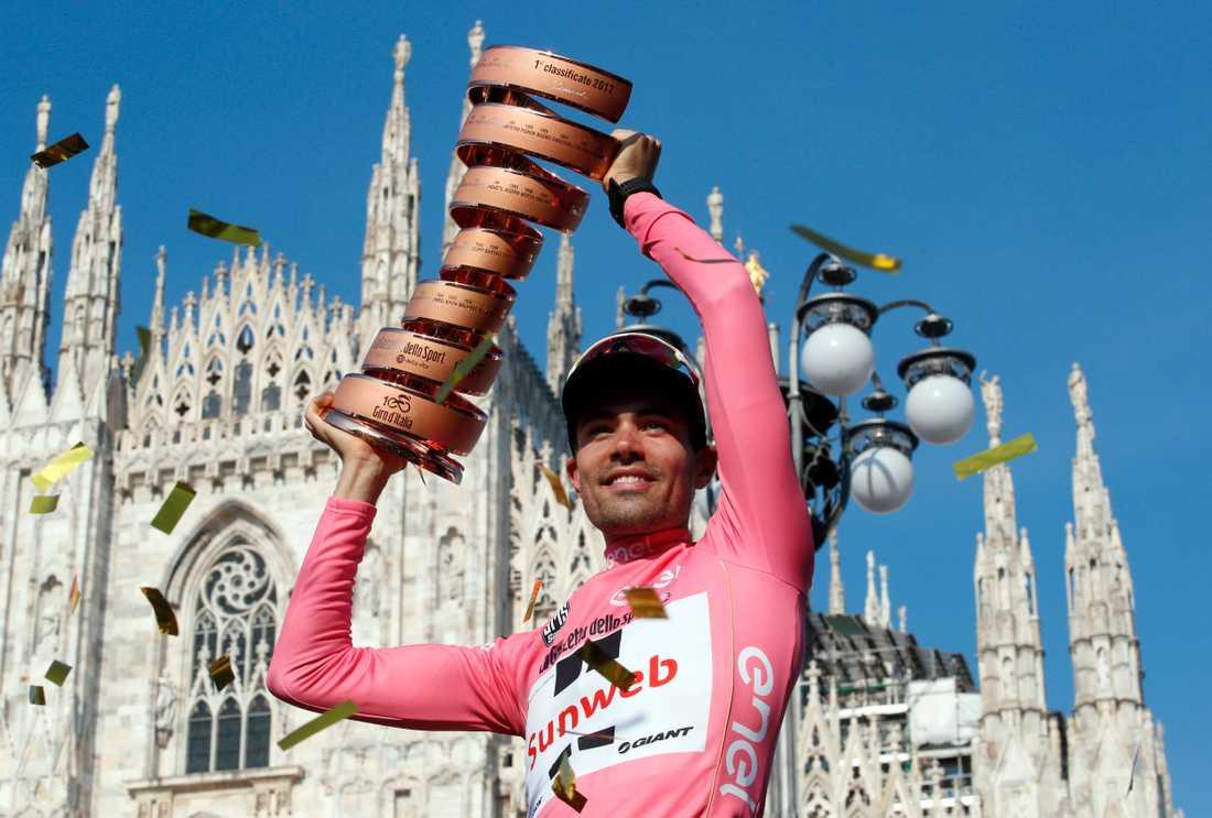 Tom Dumoulin firar vinsten i Giro d'Italia i Milano.