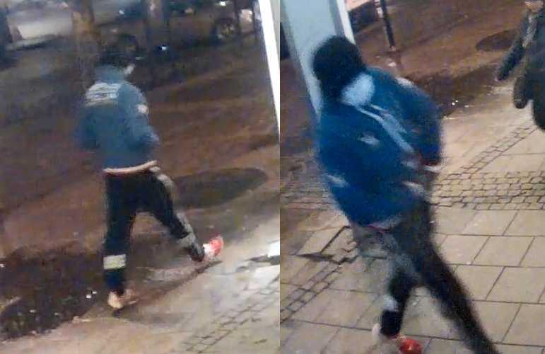 På bilderna syns personen som polisen misstänker ligger bakom knivskärningen av en man som senare avled.