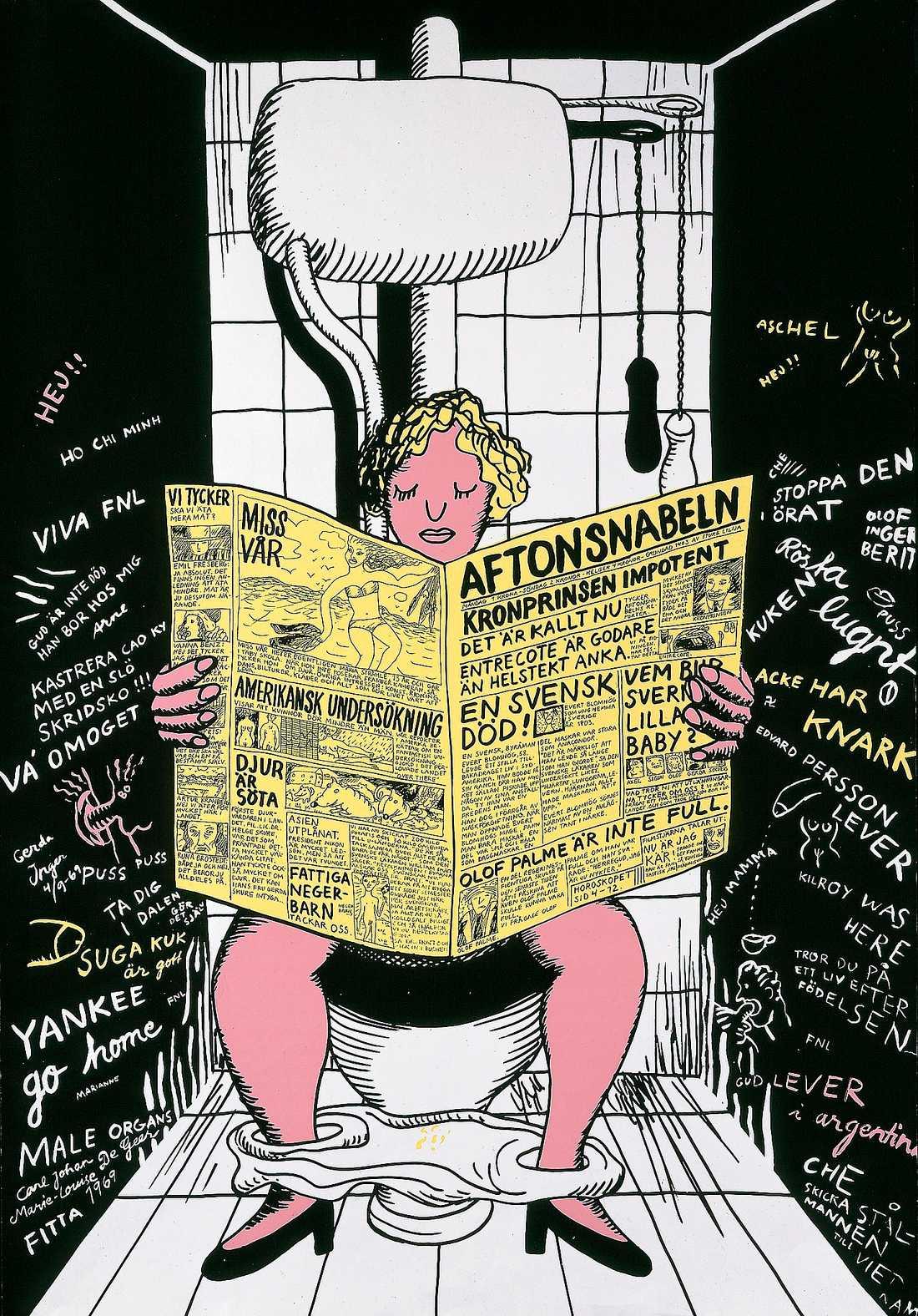 "Marie-Louise Ekman, ""På toaletten"" (Aftonsnabeln), 1969."