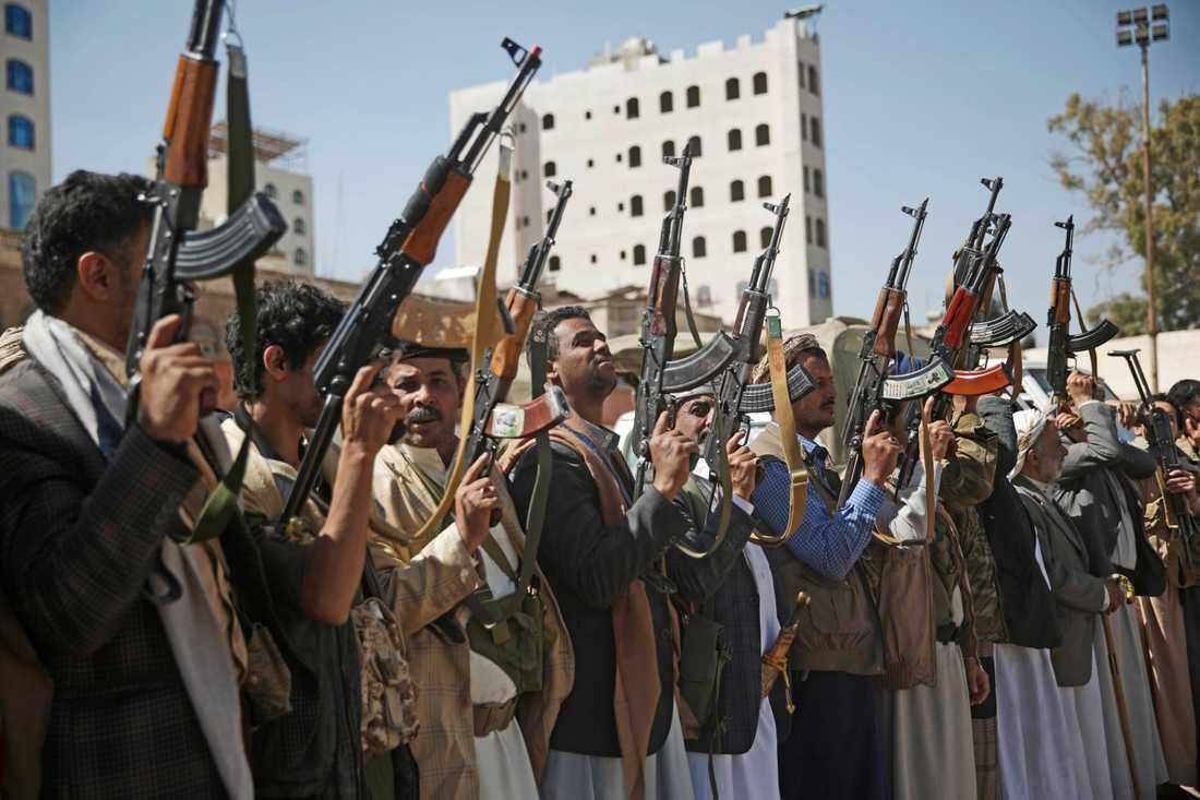 Huthisoldater samlade till ett evenemang i Sanaa i februari i år.