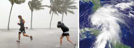 Folk flydde undan vinden och regnmängderna när tropiska stormen Fay slog till mot ögruppen Florida Keys, söder om Florida på måndagskvällen, svensk tid.