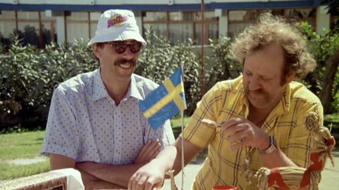 Lasse Åberg och Jon Skolmen i Sällskapsresan.