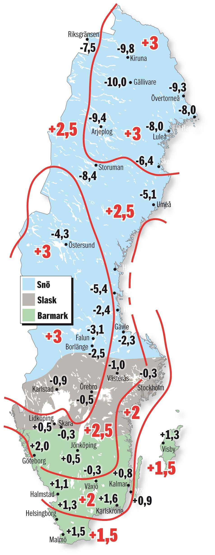 SÅ LÄSER DU KARTAN De svarta siffrorna visar den beräknade genomsnittstemperaturen, ort för ort.  De röda siffrorna visar avvikelsen från normaltemperatur, december till och med februari. Beräkningen bygger på statistik från SMHI och tremånadersprognosen från Meteorologisk institutt i Oslo.