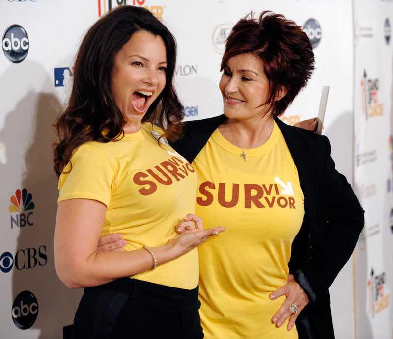Fran Drescher tillsammans med Sharon Osbourne på välgörenhetseventet Stand Up to Cancer 2008.
