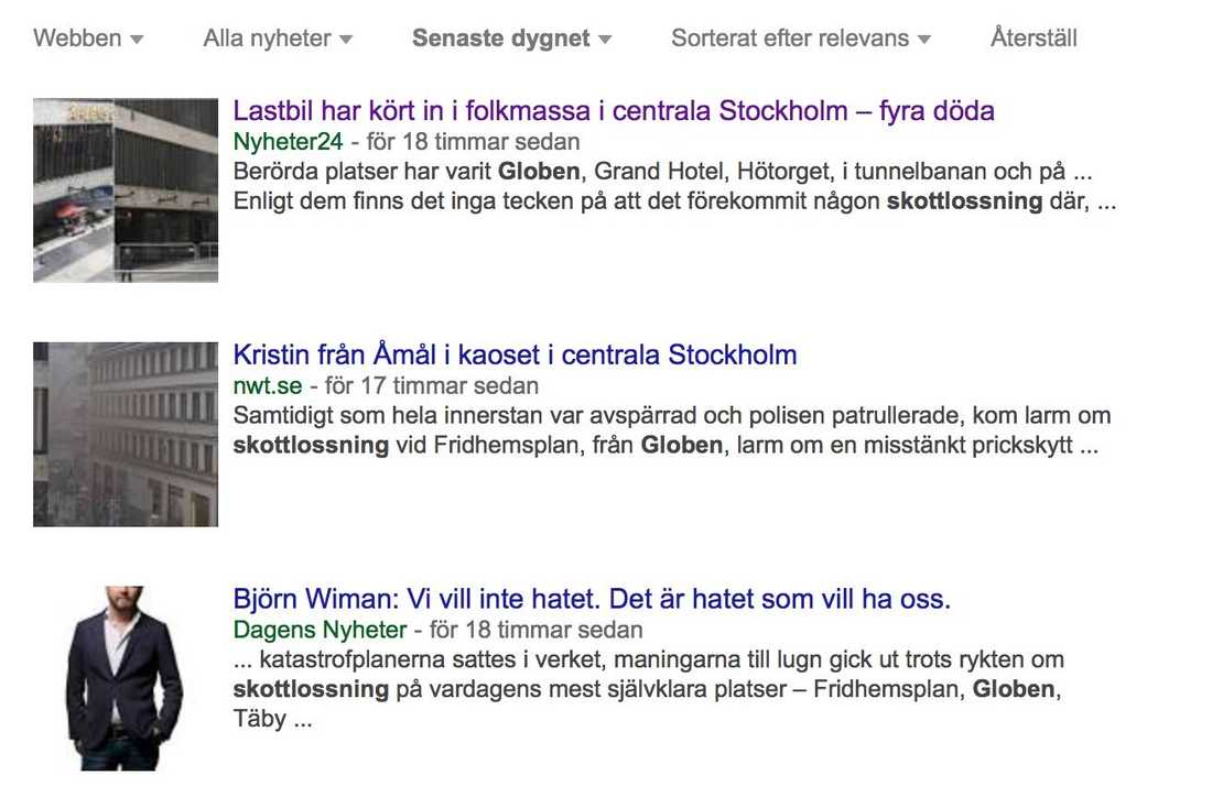 Globen, Hötorget, Fridhemsplan – fel i media.
