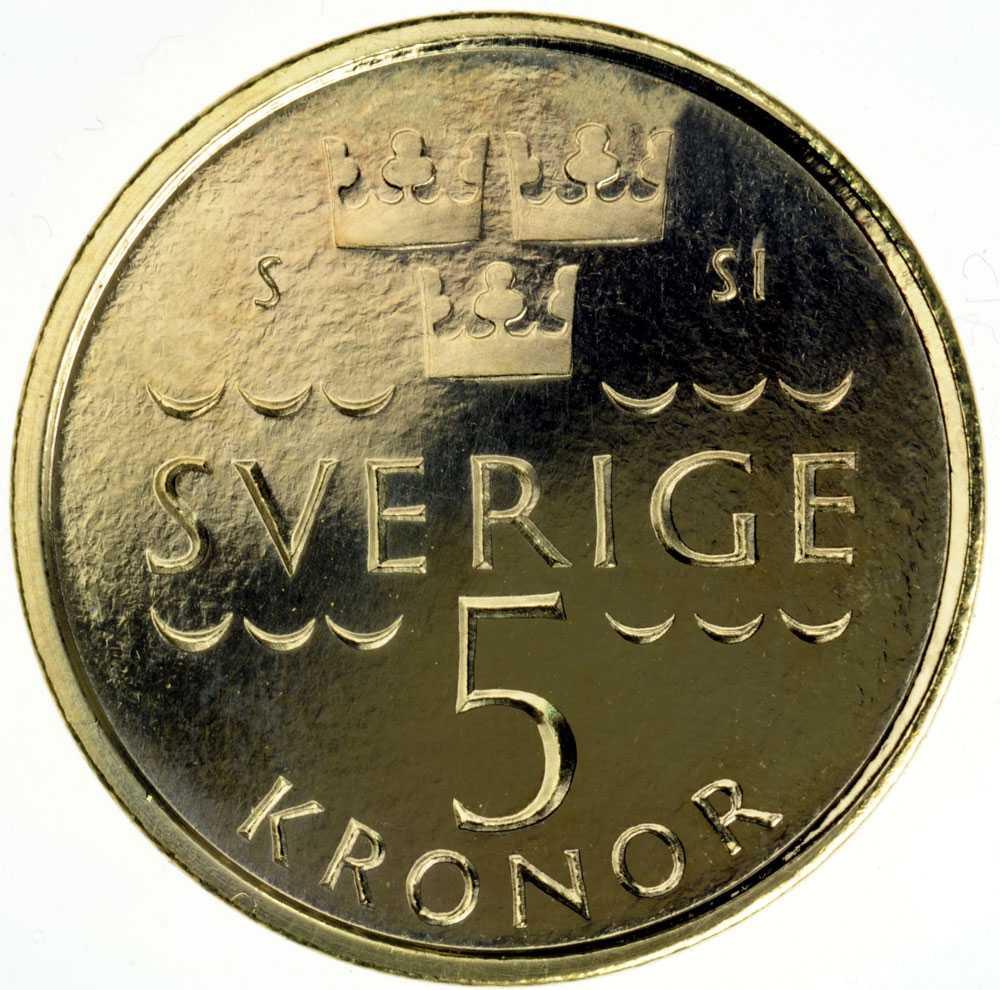 Baksidan på nya 5-kronan. Och vågmönstret knyter an till Ted Gärdestads populära låt.