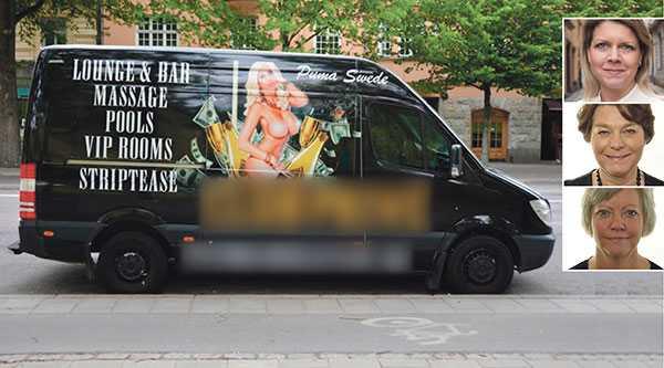 Dagligen solkar strippklubbarnas reklam gatubilden i Stockholm, skriver debattörerna Sofia Jarl, Solveig Zander och Annika Qarlsson.