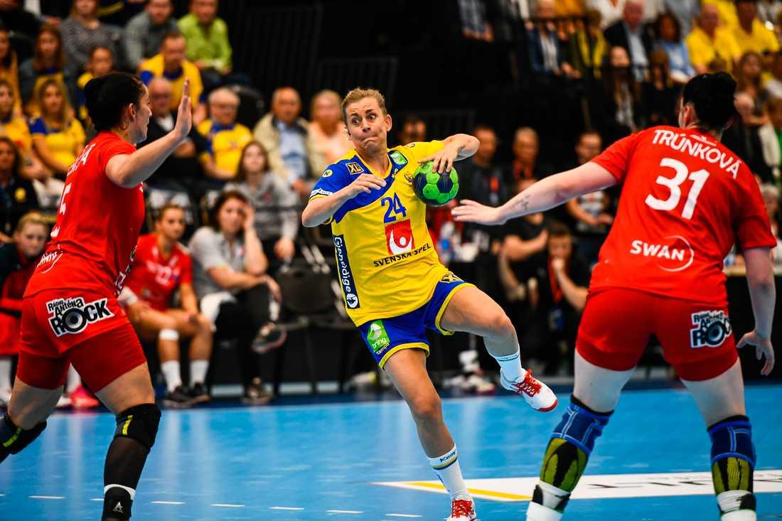 Nathalie Hagman gjorde sju mål för Sverige i VM-kvalmatchen mot Slovakien.