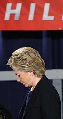 Hillary Clinton efter valet i natt.