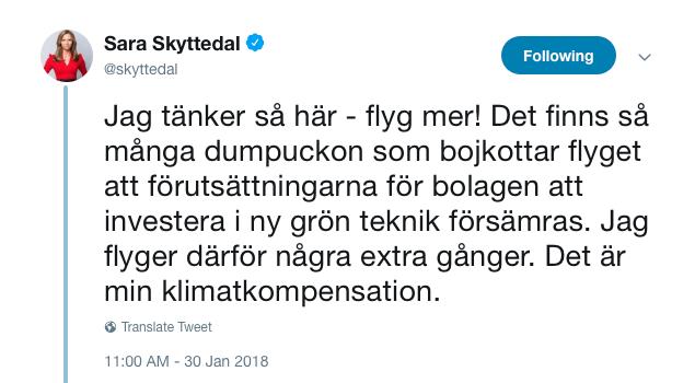 """Sara Skyttedals tweet om """"Dumpuckon""""."""