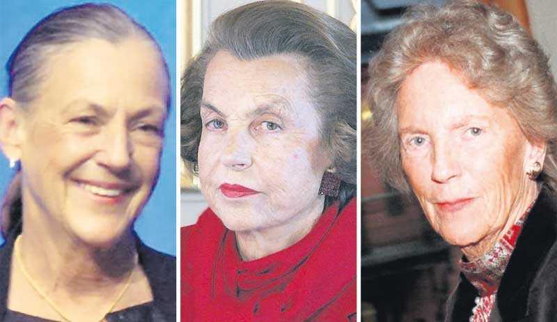 Från vänster: 2:a i USA… och i världen: Alice Walton, 60, äger 148 miljarder kronor. 1:a i Europa: Fransyskan Liliane Bettencourt, 87, äger 144 miljarder. 1:a i Sverige: Birgit Rausing, 86, äger 94 miljarder.
