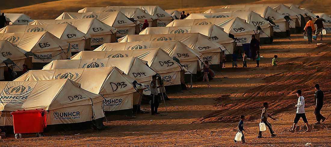 Ett UNCHR-läger för de som tvingats fly när IS tog över staden Mosul i norra Irak.