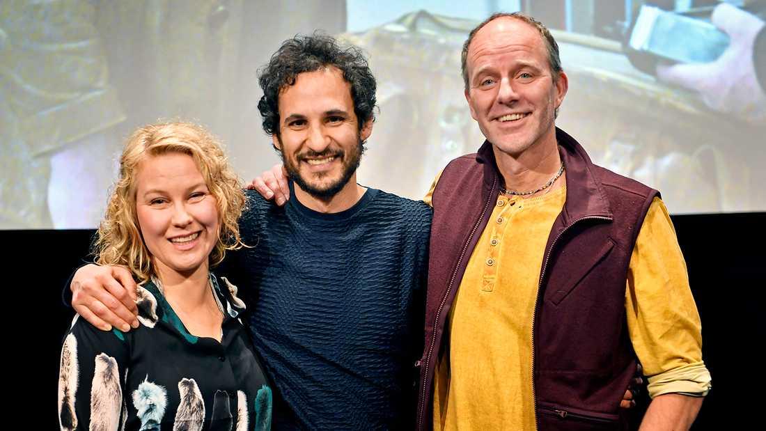 """Skådespelaren Eva Melander, regissören Ali Abbasi och författaren John Ajvide Lindqvist, som skrev novellen som filmen """"Gräns"""" bygger på."""