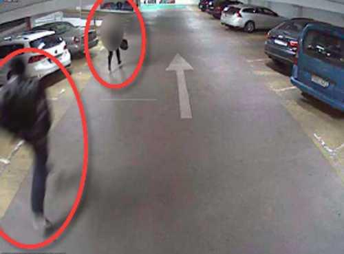 Kvinnan förföljs av 43-åringen i garaget strax innan han går till attack.