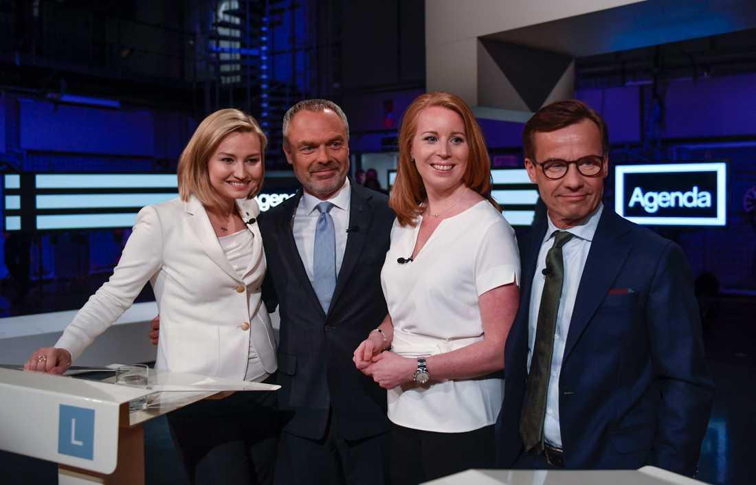 Alliansens partiledare Ebba Busch Thor (KD), Jan Björklund (L), Annie Lööf (C) och Ulf Kristersson (M) medverkade i Agendas partiledardebatt.