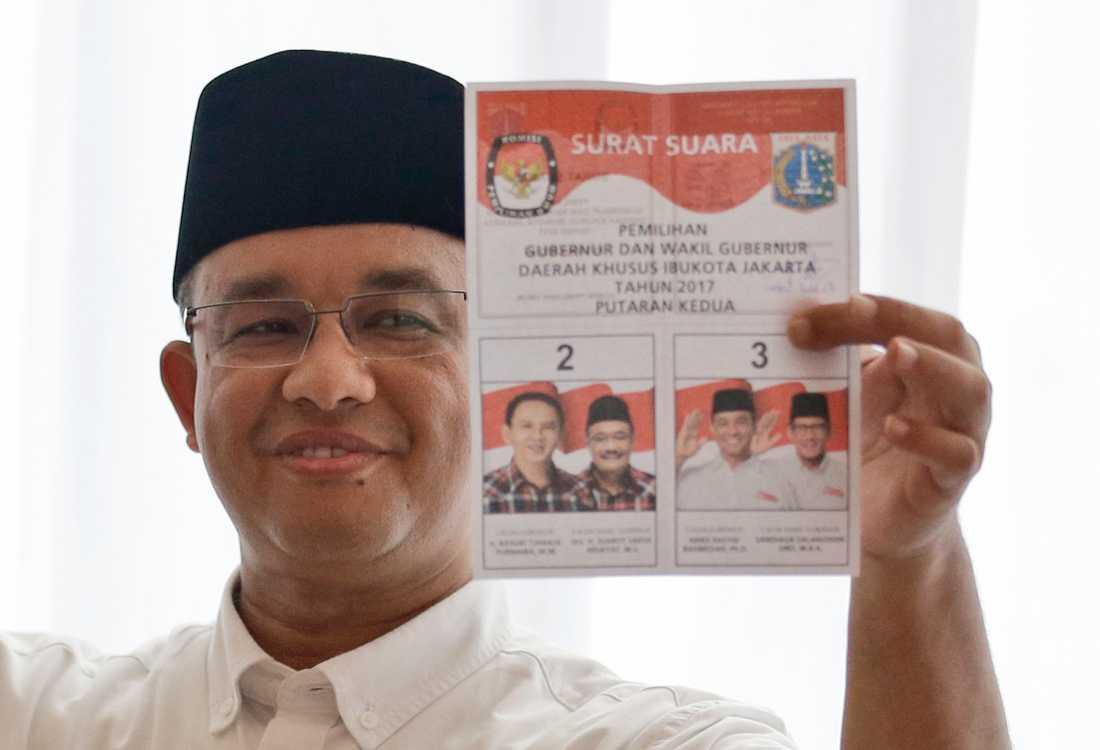Jakartas guvernör Anies Baswedan under lokalvalen 2017. Arkivbild.
