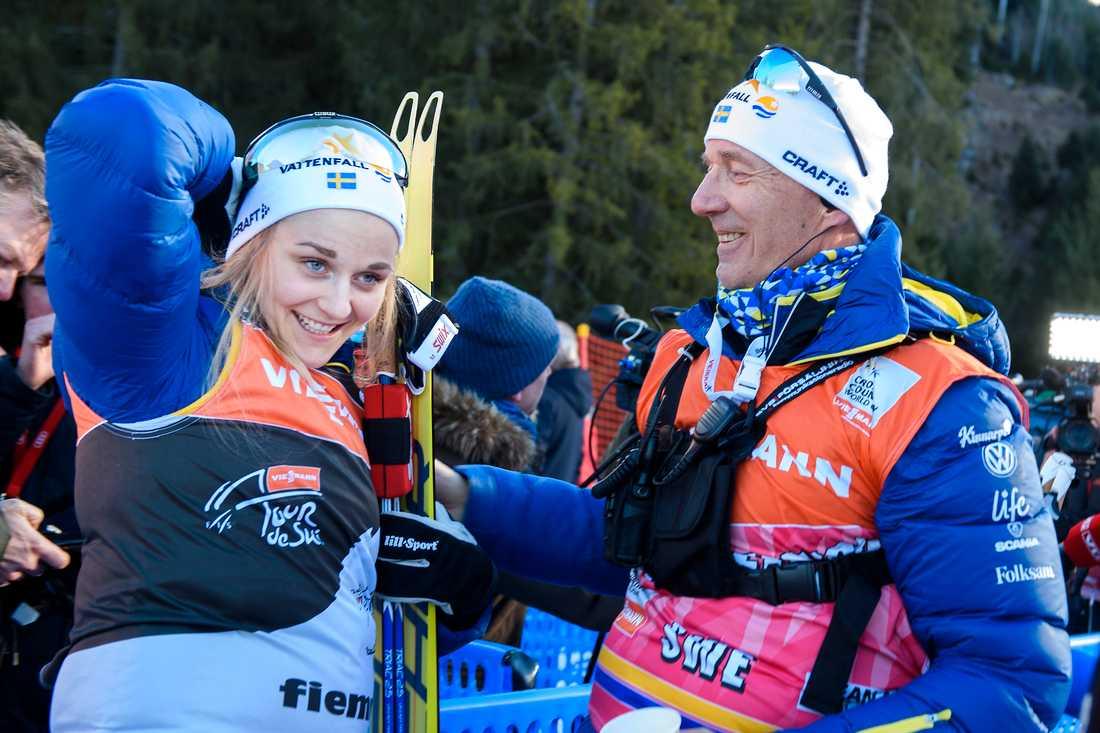 Stina Nilsson och tränaren Ole Morten Iversen.