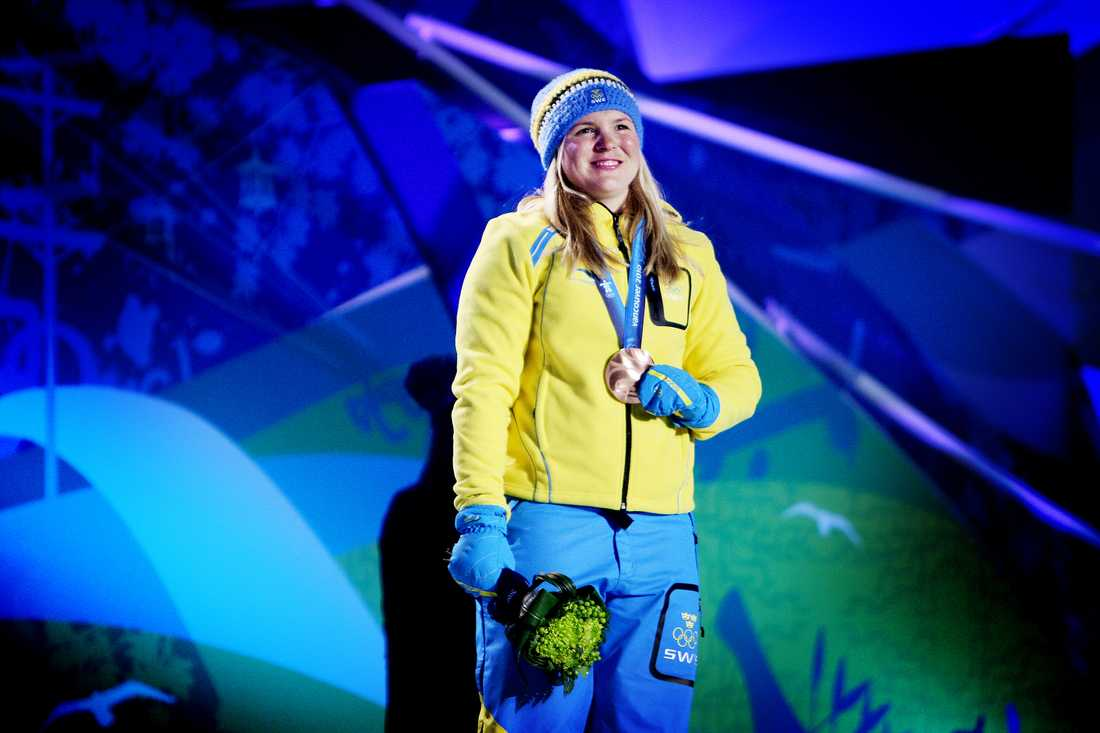 Anja Pärson fick brons i Superkombinationen vid Vancouver-OS 2010. Hennes 19:e och sista mästerskapsmedalj.