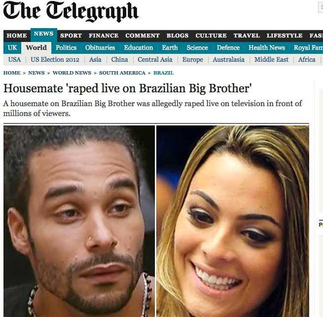 """Skärmdump från The Telegraph. På bilden syns de båda """"Big brother""""-deltagarna Daniel Echaniz och Monique Amin."""