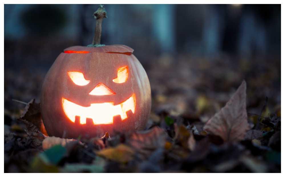 En utkarvad pumpa med ljus hör Halloween till.