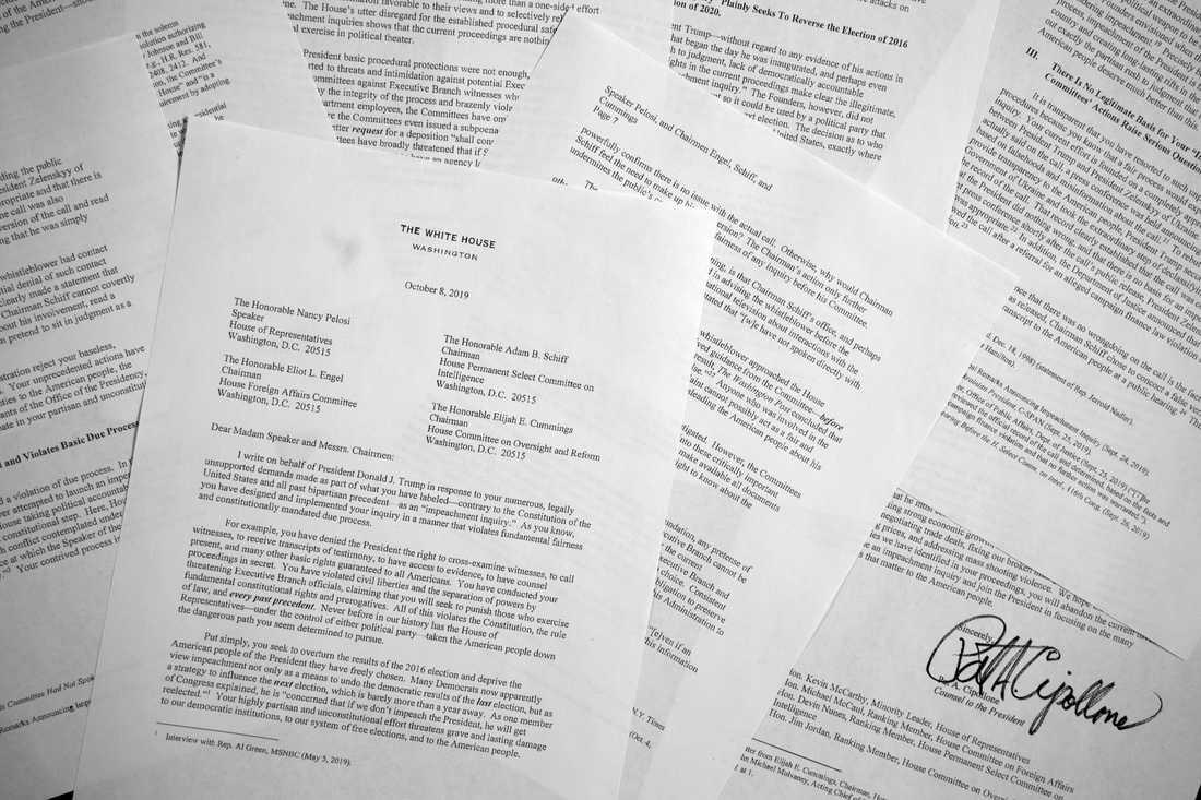 Brevet som Vita huset skickat till fyra toppdemokrater.