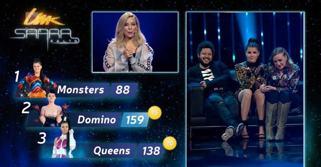 Joy och Linnea Deb tillsammans med artisten Saara Aalto under den finska uttagningen till Eurovision song contest.