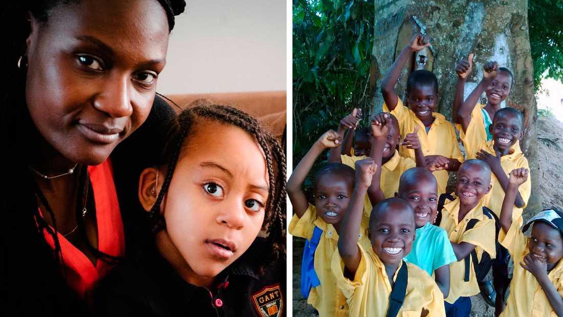 Miza Landström och dottern Elikia. Till höger elever i skolan som Miza tagit initiativ till att bygga i Lwengo, Kongo.