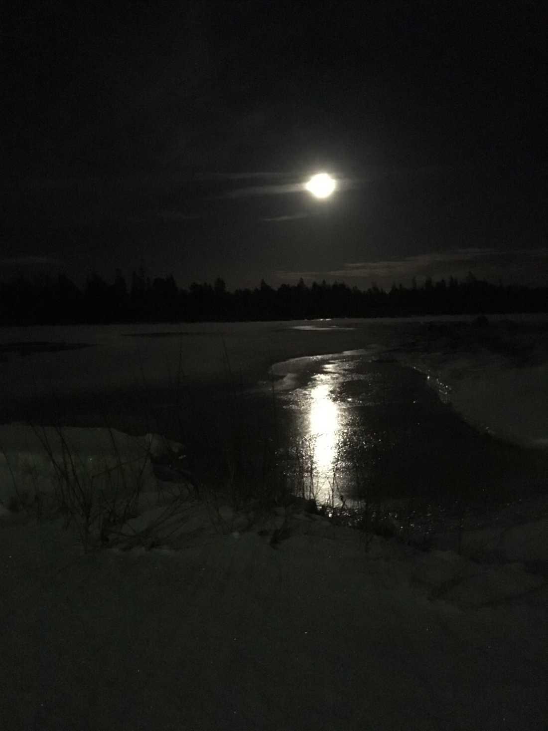 Supermånen vid Storgrundet i Skelleftehamn.