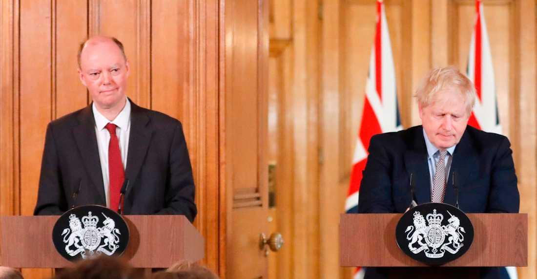 Chris Witty och Boris Johnson är båda satta i hemkarantän.