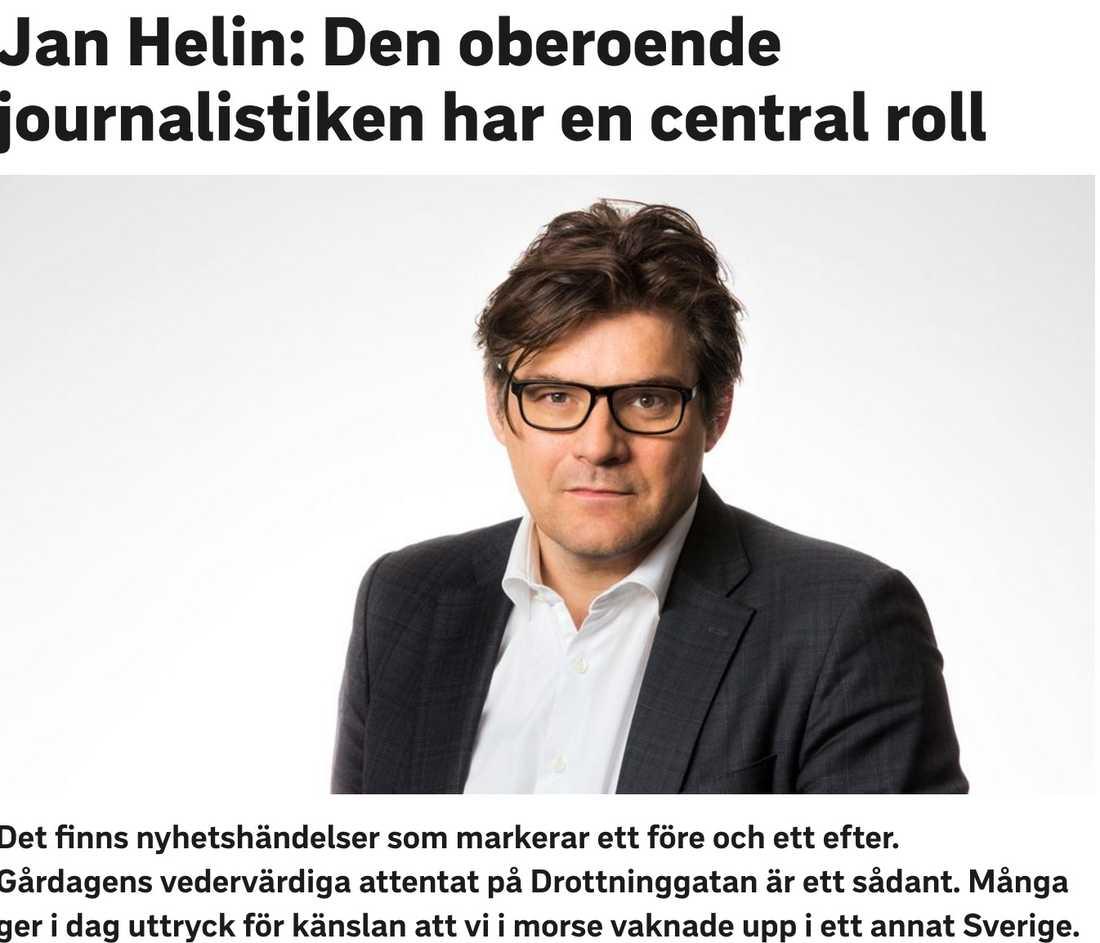 Jan Helin, SVT:s programdirektör, försvarar misstag.