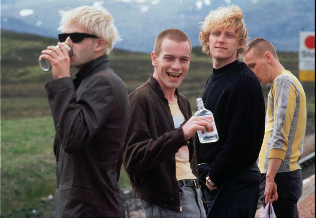 "Johnny Lee Miller, Ewan McGregor, Kevin McKidd och Ewen Bremmer i ""Trainspotting""."
