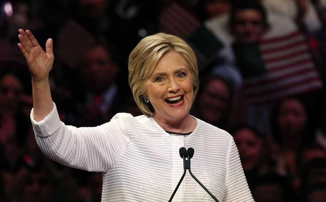 Hillary Clinton höll sitt slutgiltiga segertal i New York i natt.