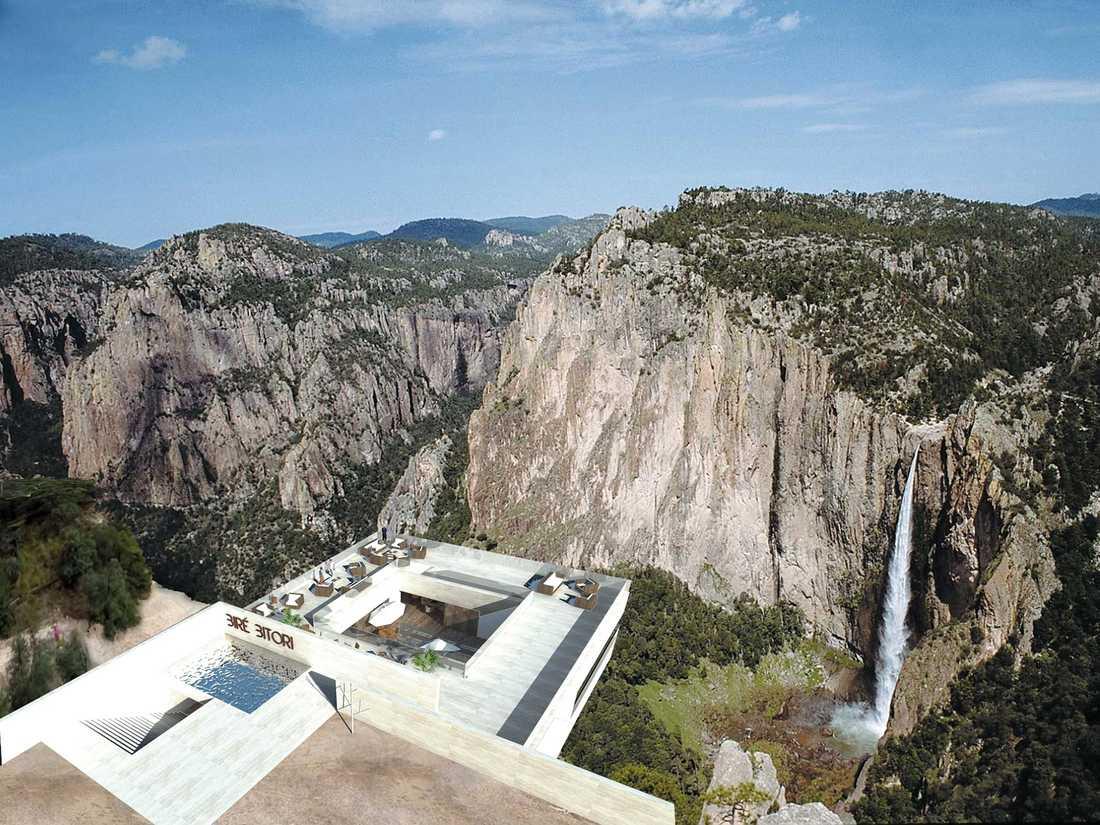 Tanken är att The Copper Canyon Cocktail Bar ska erbjuda en fantastisk utsikt över Basaseachic Falls, Mexikos högsta vattenfall.